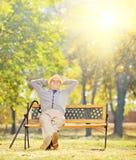 Entspannter älterer Herr, der auf Bank im Park an einem sonnigen Tag sitzt Stockbild