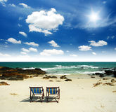 Entspannung auf dem Strand in Thailand Stockbilder