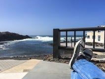 Entspannung an der sehenseite Stockbild