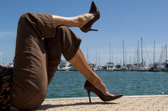 Entspannung am Jachthafen Lizenzfreies Stockbild