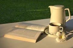 Entspannung mit einem Buch u. einem Cuppa Lizenzfreies Stockbild