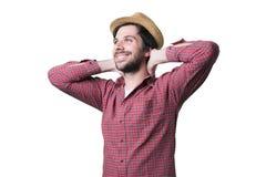 Entspannungsaufpassender Himmel des jungen Mannes Lizenzfreie Stockfotografie