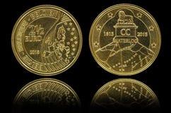 Entsprechend und Rück von 2 Münze des Euros 5 Stockfotografie