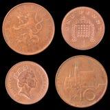 Entsprechende und Rückmünze von Großbritannien, tschechisch Lizenzfreie Stockfotos
