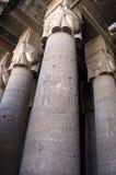 Entsteinen Sie Spalten im alten ägyptischen Tempel Stockfotos