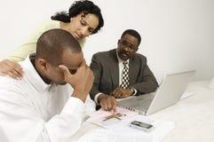 Enttäuschende Sitzung mit Buchhalter Stockbilder