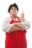 Enttäuschte Großmutter mit Rollenstift Stockfotografie