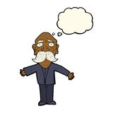 enttäuschter alter Mann der Karikatur mit Gedankenblase Lizenzfreie Stockfotos