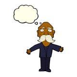 enttäuschter alter Mann der Karikatur mit Gedankenblase Lizenzfreie Stockbilder