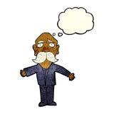 enttäuschter alter Mann der Karikatur mit Gedankenblase Stockfotos