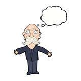 enttäuschter alter Mann der Karikatur mit Gedankenblase Stockfotografie