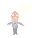 enttäuschter alter Mann der Karikatur mit Gedankenblase Stockbild