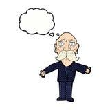enttäuschter alter Mann der Karikatur mit Gedankenblase Lizenzfreie Stockfotografie