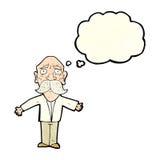 enttäuschter alter Mann der Karikatur mit Gedankenblase Stockbilder