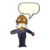 enttäuschter alter Mann der Karikatur mit Spracheblase Stockfotografie