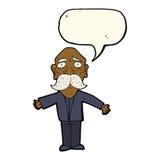 enttäuschter alter Mann der Karikatur mit Spracheblase Lizenzfreie Stockfotografie