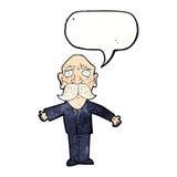 enttäuschter alter Mann der Karikatur mit Spracheblase Stockbilder