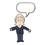 enttäuschter alter Mann der Karikatur mit Spracheblase Stockfotos