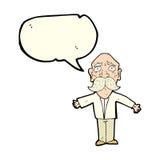 enttäuschter alter Mann der Karikatur mit Spracheblase Lizenzfreie Stockfotos