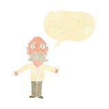 enttäuschter alter Mann der Karikatur mit Spracheblase Stockfoto