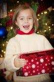 Entusiasmo y sorpresa de la mañana de la Navidad Imagen de archivo libre de regalías