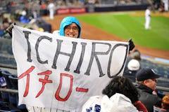 Entusiastisk fan av Ichiro Suzuki royaltyfria foton
