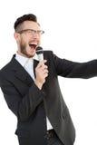 Entuzjastyczny głośnikowy opowiadać w mikrofonie Fotografia Royalty Free