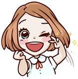 Entuzjastyczny kreskówki dziewczyny powitanie Obraz Royalty Free