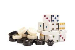 Entwürfe und Dominos Stockfoto
