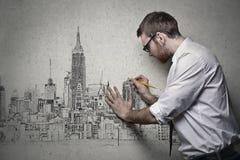 Entwerfen auf Wand stockbilder