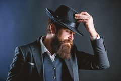 Entwerfen der neuen Kleidung B?rtiger Mannherr Detektiv im Hut Reifer Hippie mit Bart Geheim werfen Sie M?nnliches formales stockfotografie