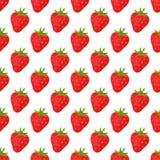Entwerfen frische Früchte der Karikatur ErdbeerMuster-Lebensmittelsommer der flachen Art im nahtlosen Vektorillustration Lizenzfreie Stockfotografie