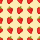 Entwerfen frische Früchte der Karikatur ErdbeerMuster-Lebensmittelsommer der flachen Art im nahtlosen Vektorillustration Lizenzfreies Stockfoto