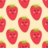 Entwerfen frische Früchte der Karikatur ErdbeerMuster-Lebensmittelsommer der flachen Art im nahtlosen Vektorillustration Lizenzfreie Stockbilder