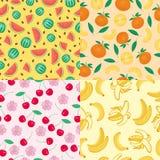 Entwerfen frische Früchte der Karikatur KirschMuster-Lebensmittelsommer der flachen Art im nahtlosen Vektorillustration Stockbilder