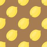Entwerfen frische Zitronenfrüchte der Karikatur Muster-Lebensmittelsommer der flachen Art im nahtlosen Vektorillustration Lizenzfreie Stockbilder