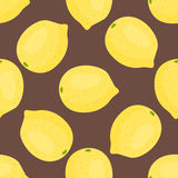 Entwerfen frische Zitronenfrüchte der Karikatur Muster-Lebensmittelsommer der flachen Art im nahtlosen Vektorillustration Lizenzfreie Stockfotografie