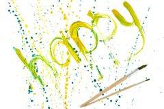 Entwerfen Sie des GLÜCKLICHEN und zwei Gouache-Wortes der Illustration gelbe Pinsel Lizenzfreie Stockfotografie