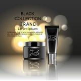 Entwerfen Sie die Kosmetik, die Produkt auf einem schwarzen Hintergrund annoncieren Schablone, freier Raum, für Ihr Design lizenzfreie abbildung