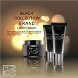 Entwerfen Sie die Kosmetik, die Produkt auf einem schwarzen Hintergrund annoncieren Schablone, freier Raum, für Ihr Design Stock Abbildung