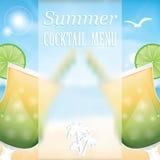 Entwerfen Sie ein Menü für Sommergetränke Lizenzfreies Stockfoto