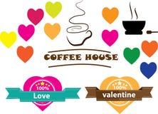 Entwerfen Sie einen Weinleseaufkleber für Liebe caffee Lizenzfreies Stockfoto