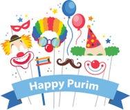 Entwerfen Sie für jüdischen Feiertag Purim mit Masken und traditionellen Stützen Stockfoto