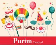 Entwerfen Sie für jüdischen Feiertag Purim mit Masken und traditionellen Stützen Auch im corel abgehobenen Betrag Lizenzfreie Stockbilder