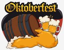 Entwerfen Sie für Oktoberfest mit Bier-Fass, der Beifall, der Deutschland-Flagge, Vektor-Illustration bildet vektor abbildung