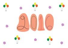 Entwerfen Sie für guten Rutsch ins Neue Jahr-Grußkarten, Vektorillustrationen Lizenzfreie Stockbilder
