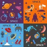 Entwerfen Sie Hintergrund mit dem Bild von Raketen, von Planeten und von astronafta Stockfoto