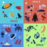 Entwerfen Sie Hintergrund mit dem Bild von Raketen, von Planeten und von astronafta Stockfotos