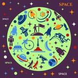 Entwerfen Sie Hintergrund mit dem Bild von Raketen, von Planeten und von astronafta Lizenzfreie Stockfotografie