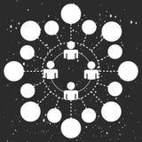 Entwerfen Sie Ikonenleuteniederlassung auf einem blauen Hintergrund im Raum kosmos Lizenzfreie Stockfotografie